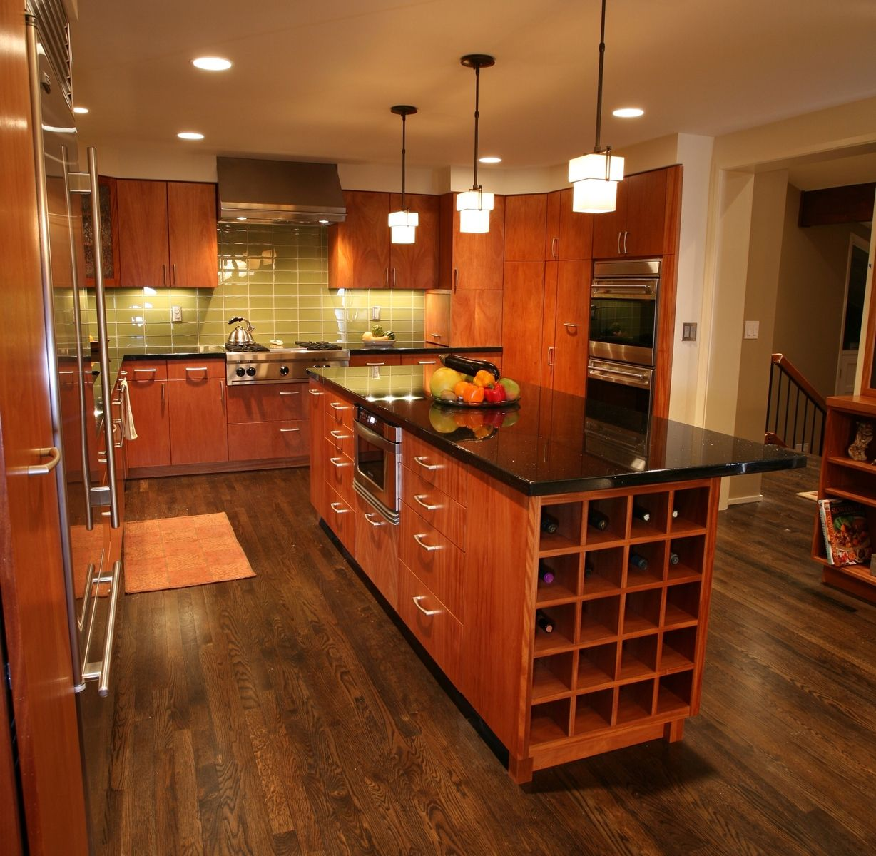 Dark Wooden Kitchen Floor: Contemporary Mahogany Kitchen And Island. So I Can See