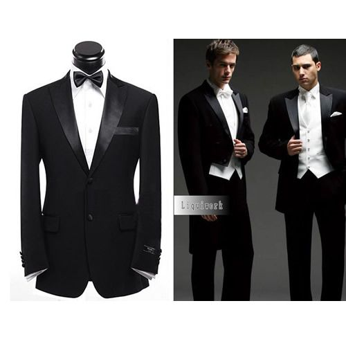 Black Two Button Italian Dress Business Wedding Prom Tuxedo Suits ...