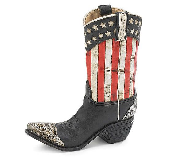 New Patriotic Cowboy Boot Vase American Flag Table Centerpiece 4th July Decor Red White And Blue