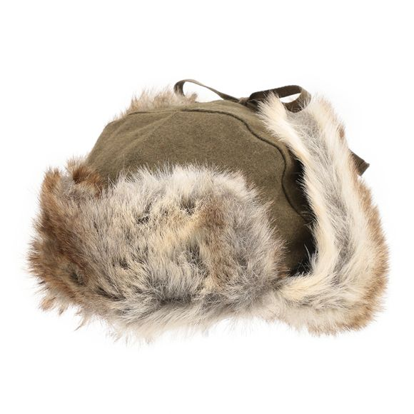 - caciula ruseasca Kangol Wool Ushanka kaki, unisex  - garnituri gri, din blana sintetica - protectii pentru urechi, ce pot fi fixate sau purtate pe urechi - inchidere cu siret - personalizata cu logo