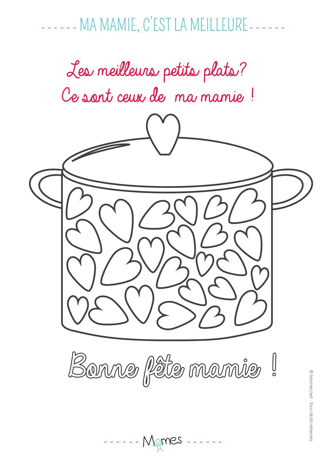 Coloriage Mamie Gateaux.Coloriage Mamie C Est La Meilleure Petits Plats Fete Des Grand