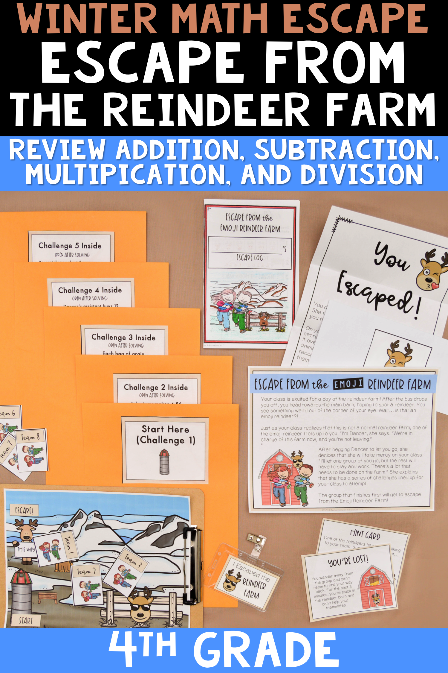 4th Grade Winter Escape Room Christmas Math Review