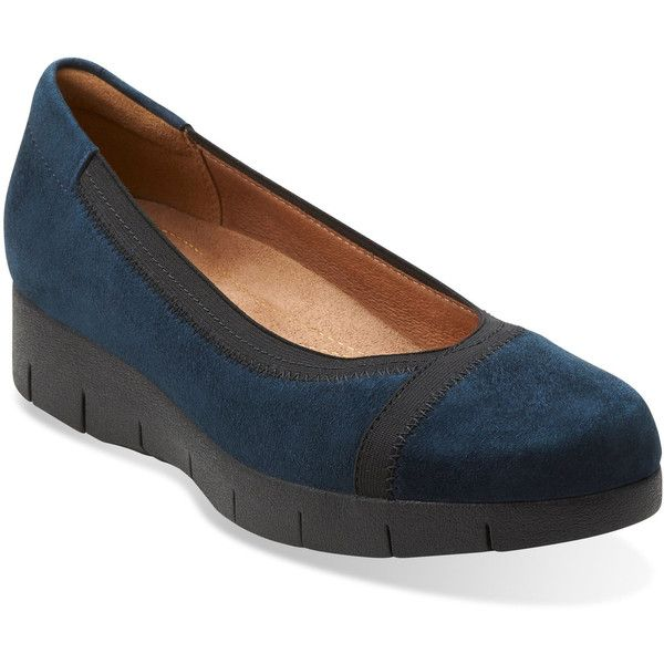 Clarks Women's Daelyn Hill ($120) ❤ liked on Polyvore featuring shoes, apparel & accessories shoes, navy suede, leather slip-on shoes, slip-on shoes, fleece-lined shoes, low wedge shoes and clarks
