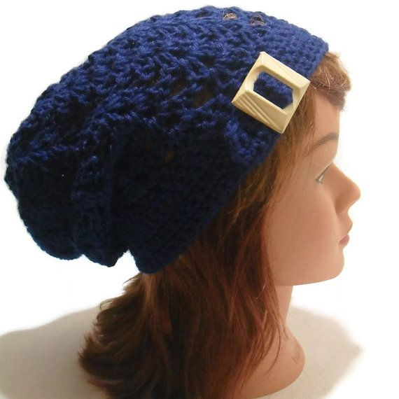 Buckle Tab Hat, Blue Summer Hat, Crochet Slouchy Beanie, Open Stitch ...