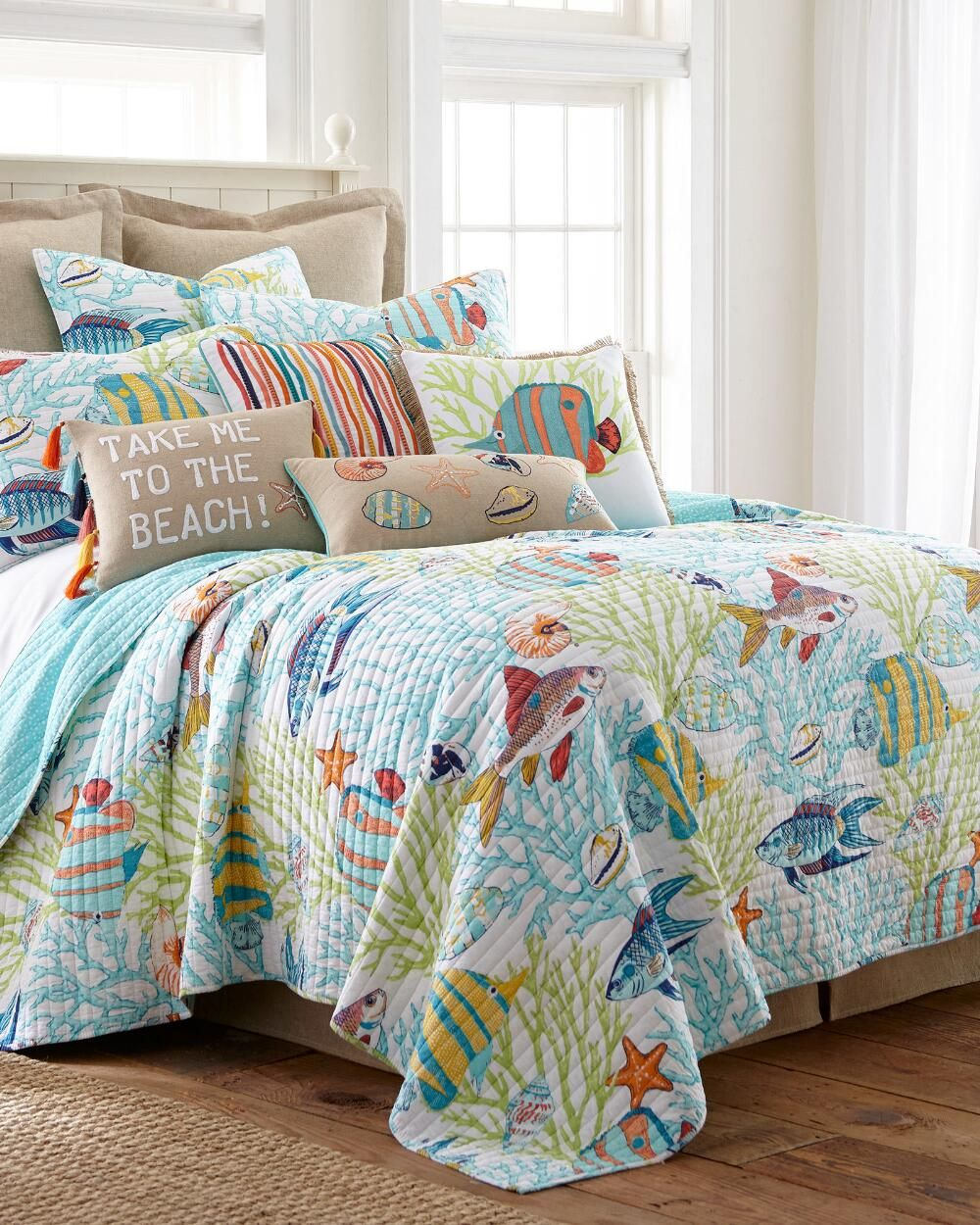 Beachwalk Fish Decorative Pillow King Quilt Sets Luxury Quilts