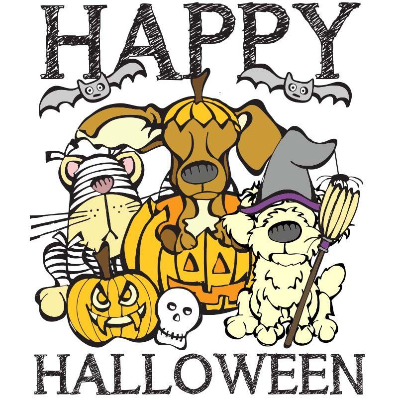 Happy Howl-oween! Boo! Bark! Meow! | Halloween coloring ...