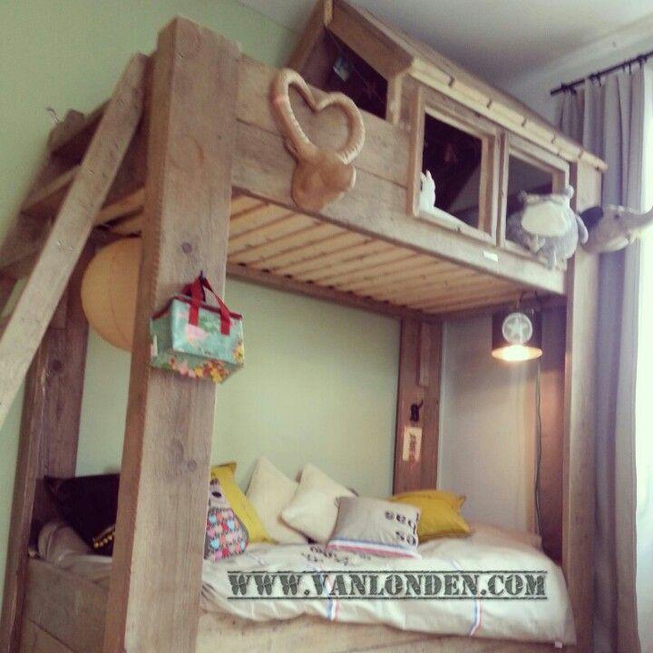 hut bed van steigerhout kinderen pinterest hut slaapkamer