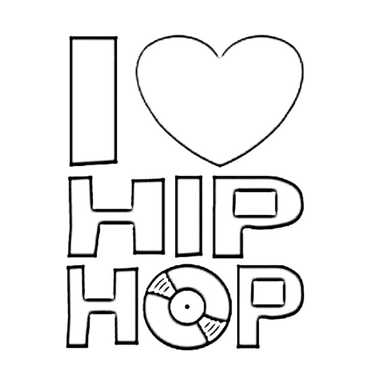 I Love Hip Hop Coloring Books Hip Hop Card Cool Lettering