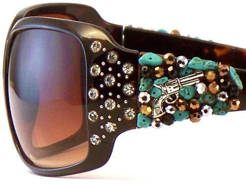 38e98bcce865 Brown Turquoise Stone Silver Pistol Sunglasses