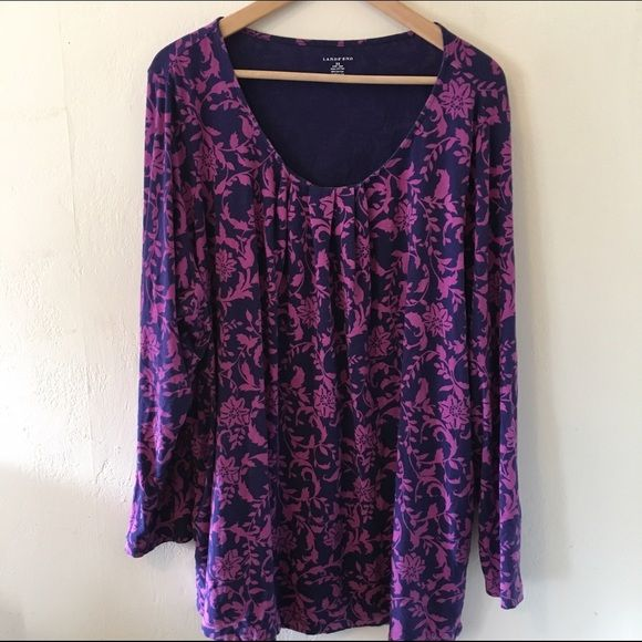 Purple Baroque Print 3/4 Sleeve Top 3x Comfy and cute. Stretch cotton blend top with pleating detail at the neckline to dress it up. Lightly worn. No trades no PayPal Lands' End Tops Tees - Long Sleeve