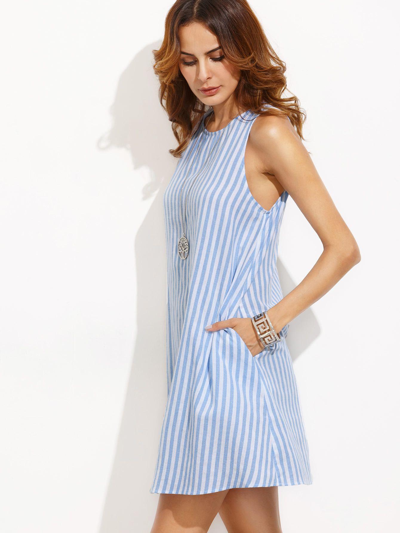 80614b811 Vestido rayas sin manga holgado - azul blanco-Spanish SheIn(Sheinside)