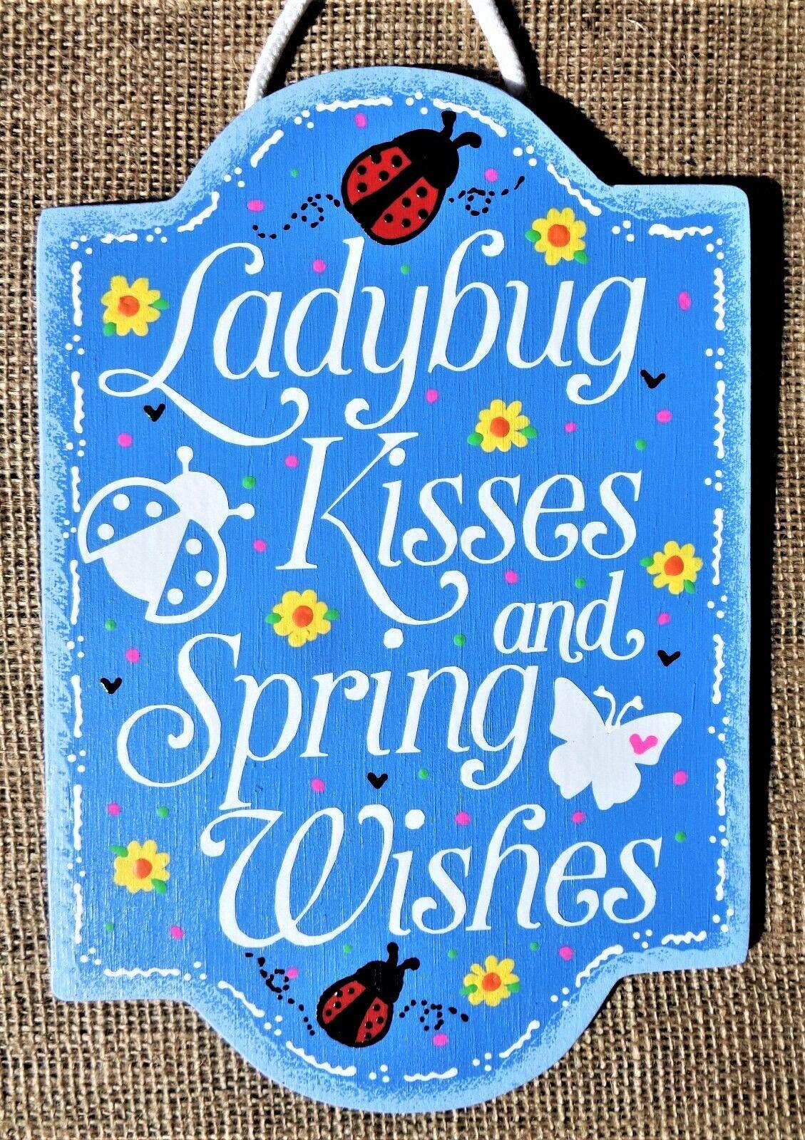 Ladybug Kisses And Spring Wishes Door Room Sign Wood Seasonal Plaque Wall Decor Hanger Country Wood In 2020 Country Wood Crafts Spring Wood Crafts Wooden Door Hangers