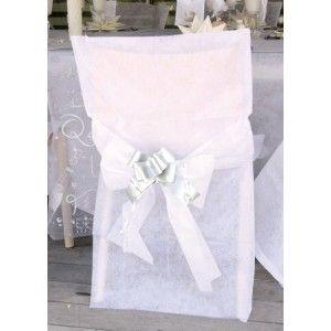 Housses De Chaise Intisse Blanc Avec Noeuds Deco Chaises Mariage Fetes Housse De Chaise Deco Mariage Turquoise Deco Chaise Mariage