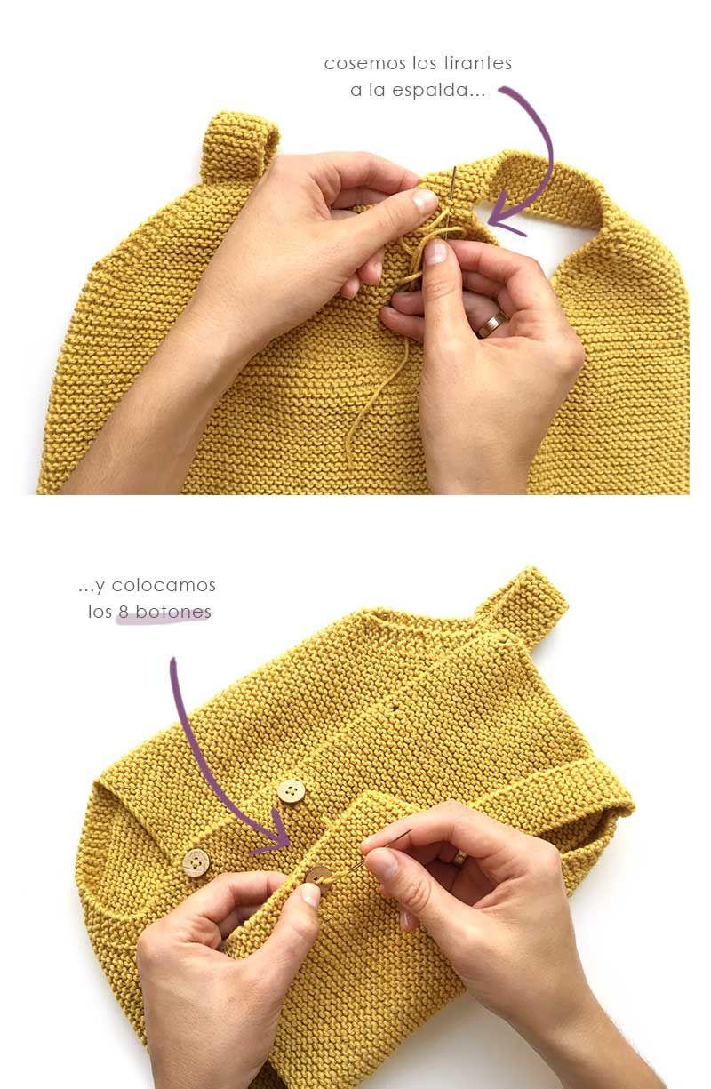 0bf3a641a Como hacer un pelele a dos agujas de bebé tejido a punto musgo -Tutorial DIY  paso a paso y patrón gratis