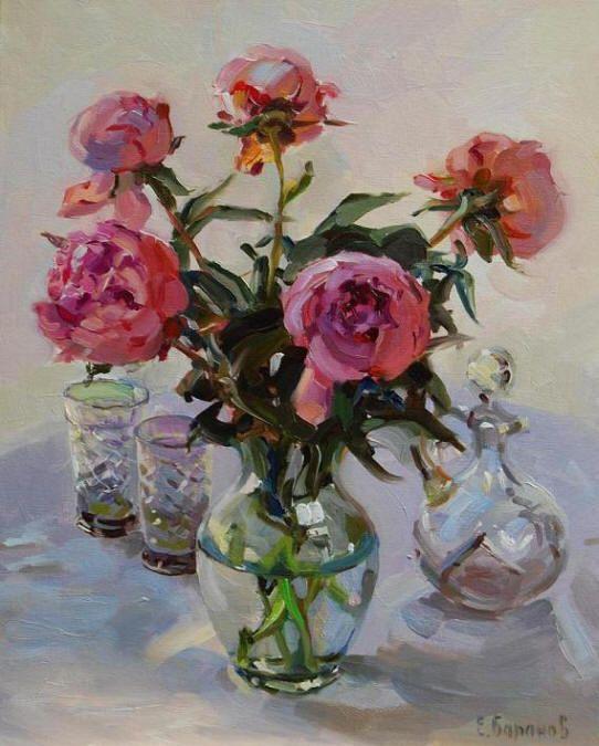 "Galleries in Carmel California- Jones/Terwilliger ""Peonies & Crystal"" by  Evgeny & Lydia Baranov ~ Oil on Panel"