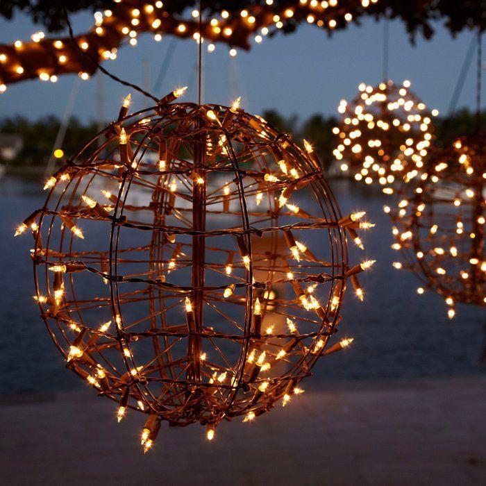 Pre-Lit Metal Sphere - $50 In My Garden Lighting, Metal, Ball lights