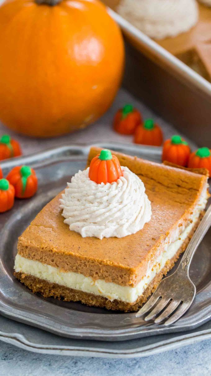 Pumpkin Cheesecake Bars are luxuriously creamy and rich, with lots of pumpkin flavor. Topped with a hefty amount of homemade cinnamon whipped cream. -   24 sweet pumpkin recipes