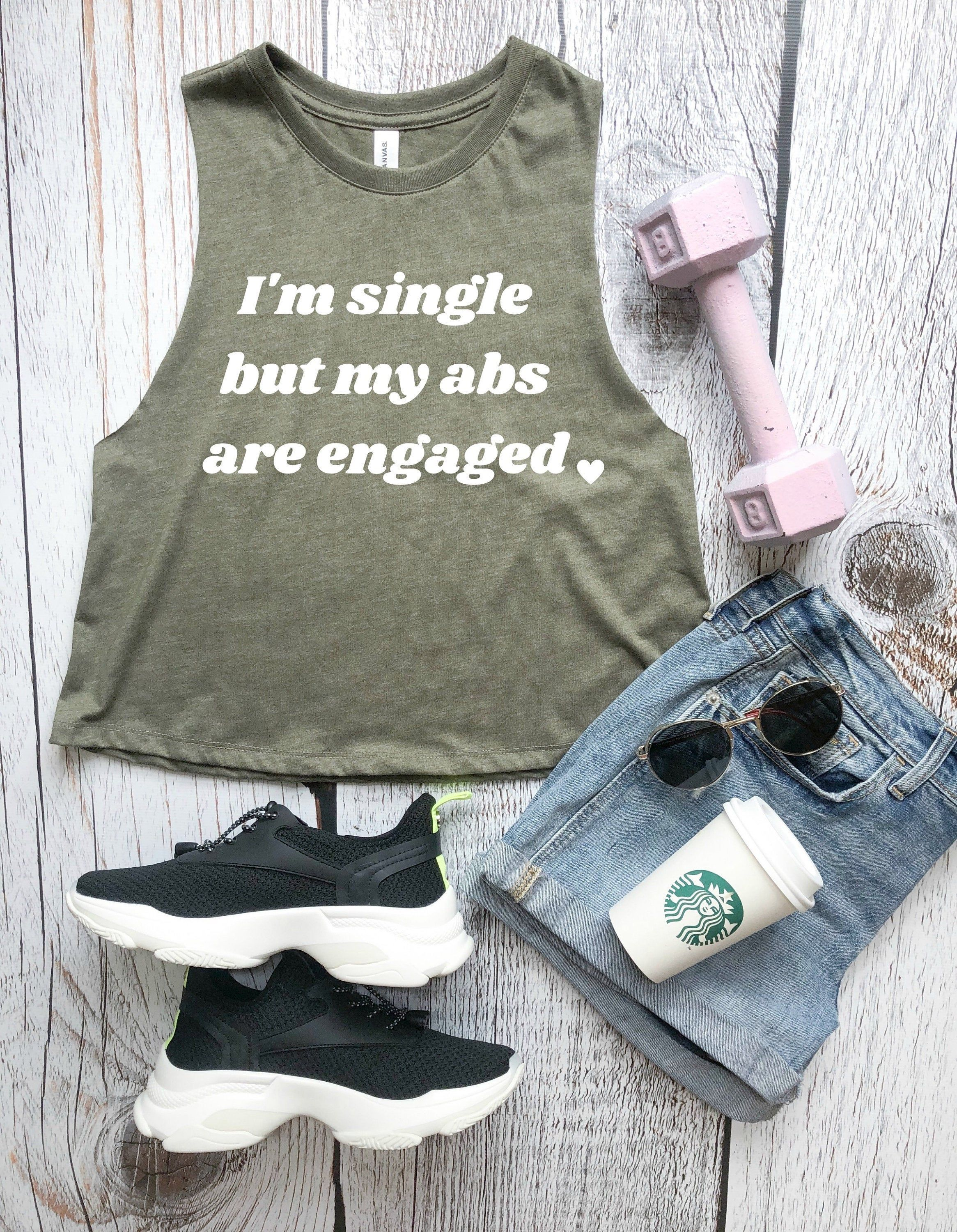 I'm Single But My Abs Are Engaged Women's Cropped Racerback Tank, Funny Workout Tank, Women's Fitnes...