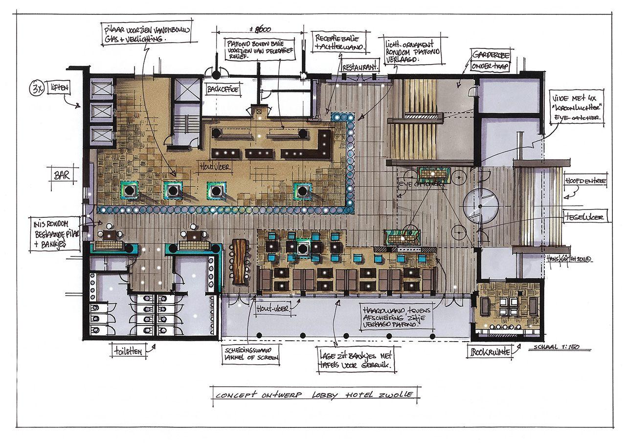 Hans Kuijten Projecten Project Name Hotel Van Der Valk Zwolle Sketch Met Afbeeldingen Interieurschets Architecturale Presentatie Hotel