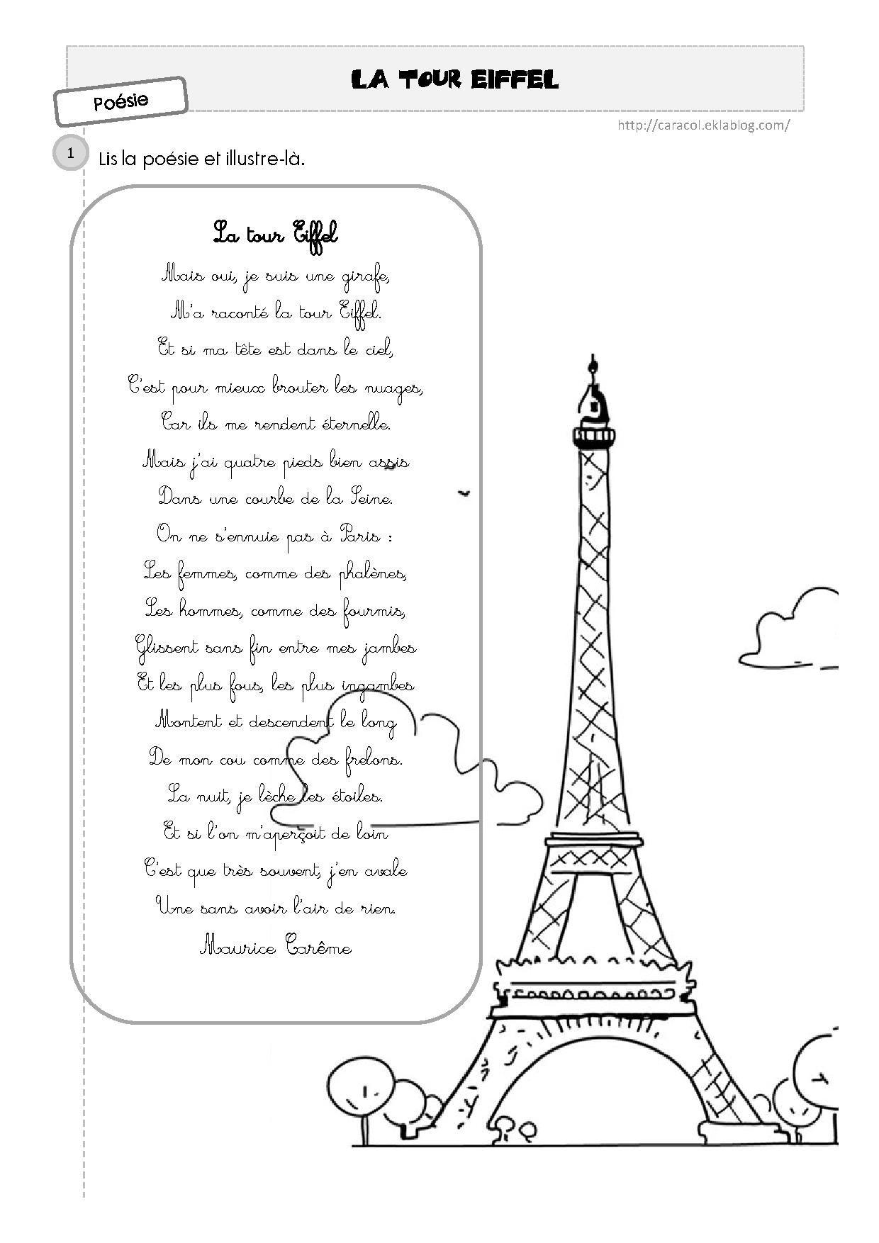 Paris Balade En Poèmes Tour Eiffel Poésie Ce1 Et Paris