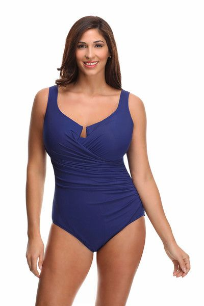 4e82ebe195e Miraclesuit Plus Size Escape Drape One Piece Bathing Suit. Color marine  blue. This swimsuit has underwire, molded cups, and tummy control.