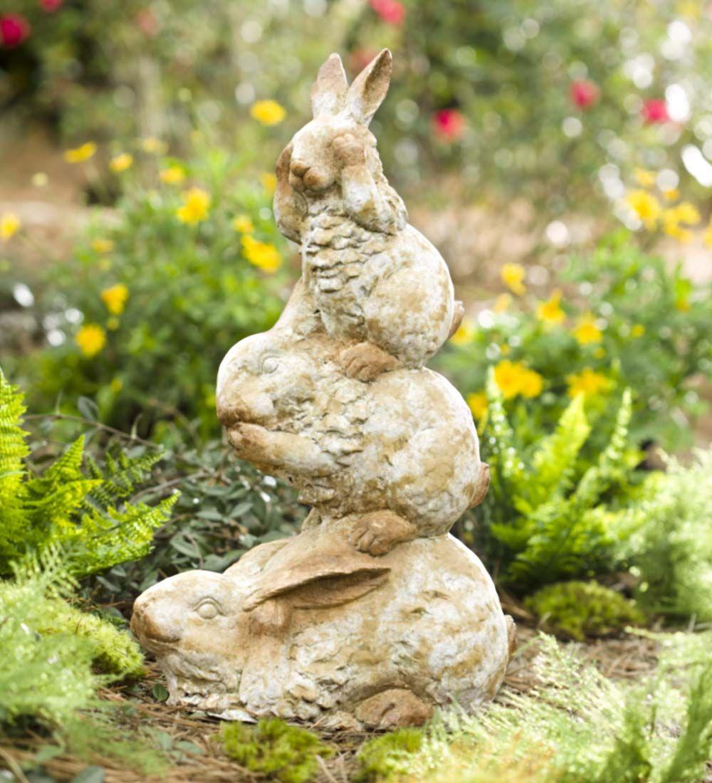 Three Wise Bunnies Garden Sculpture | Garden Statues | Animal ...