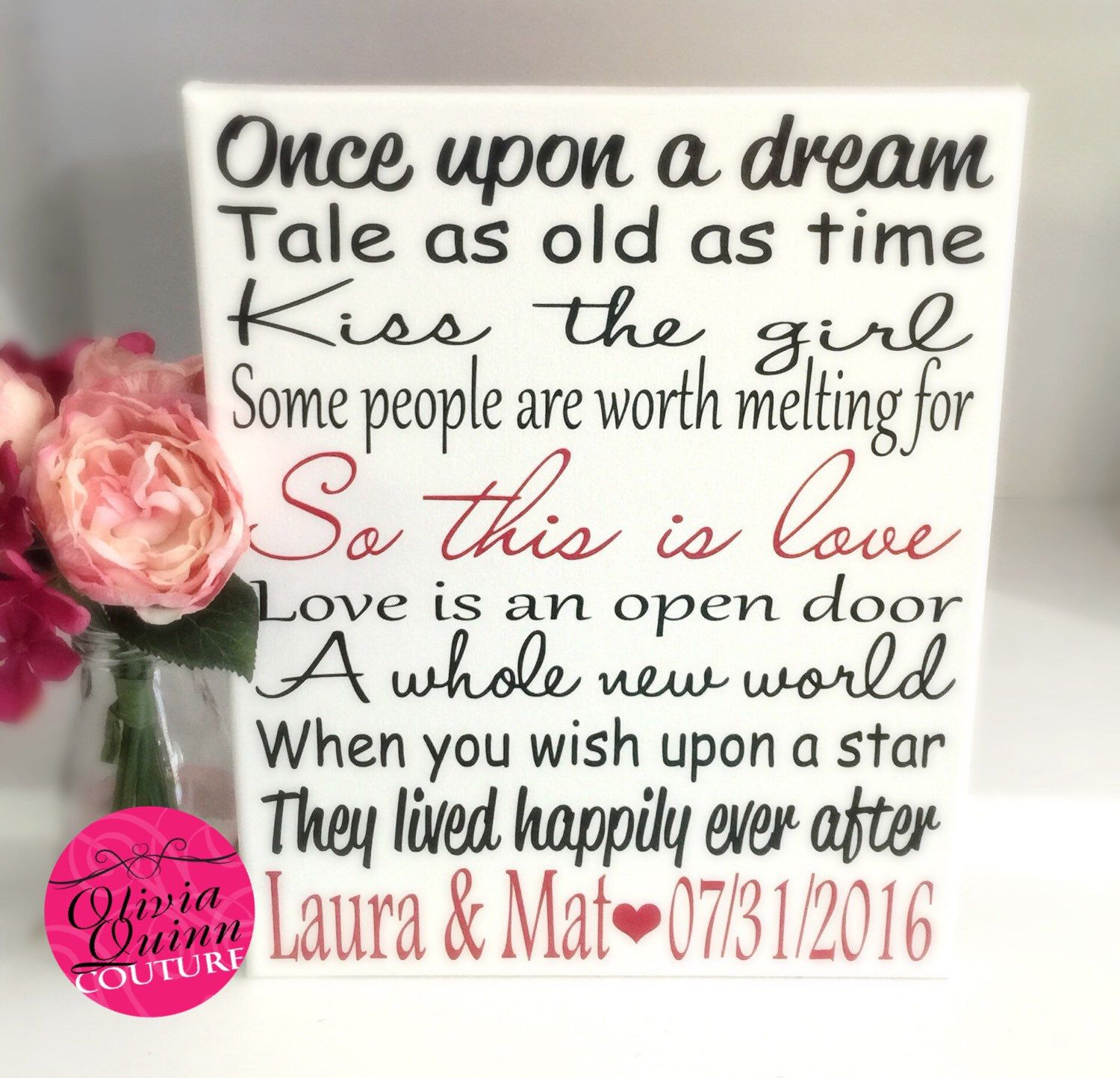 Disney Love Story Art Print Song Quote Couples Prince Princess Wedding Engagement Subway Canvas Artwork By