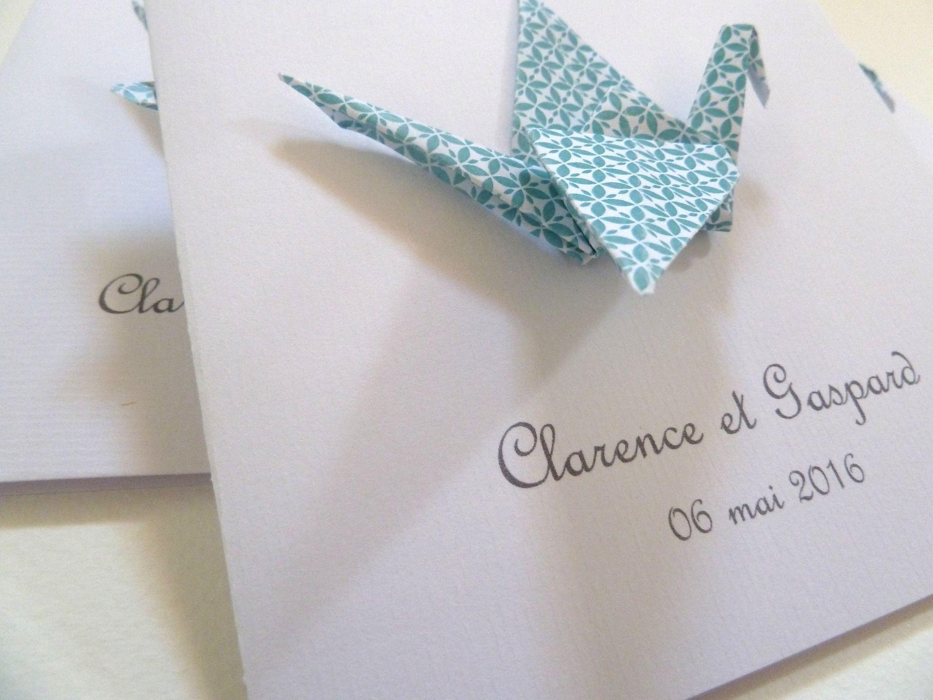 Faire part de baptême ou naissance grue en origami – carte double – bleu / fait-main