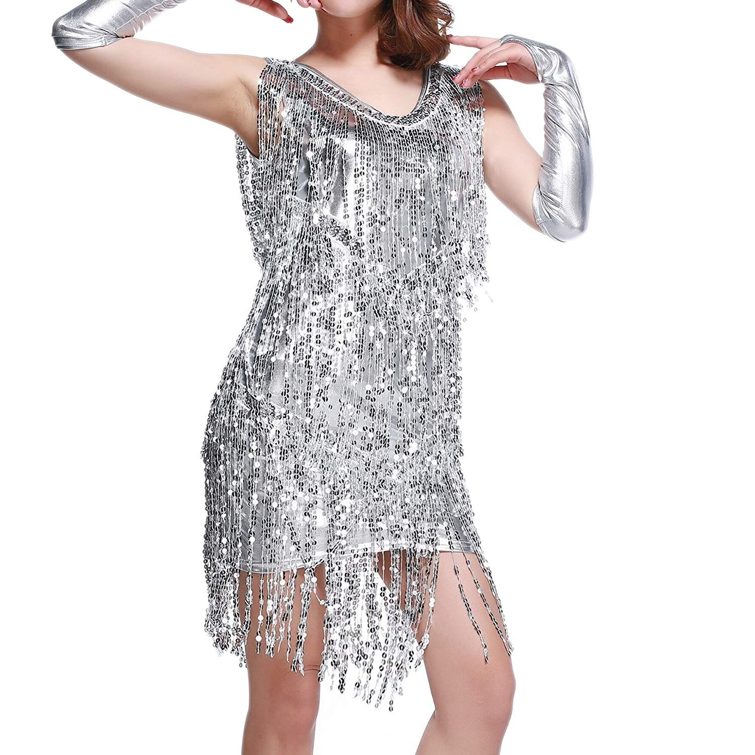 Whitewed V Neck 1920s Sequin Fringe Charleston Flapper Dance Dresses  Costumes 4.2 out of 5 stars 87 customer reviews Price   25.99 -  33.99 023b4a25b