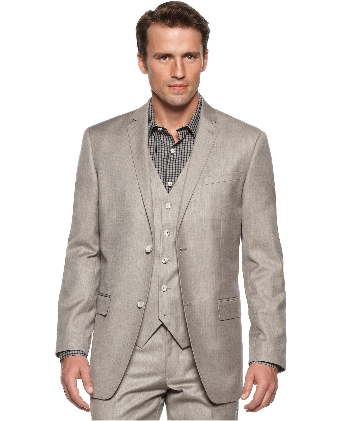 Perry Ellis Blazer, Slim Fit Textured Blazer Mens Suits