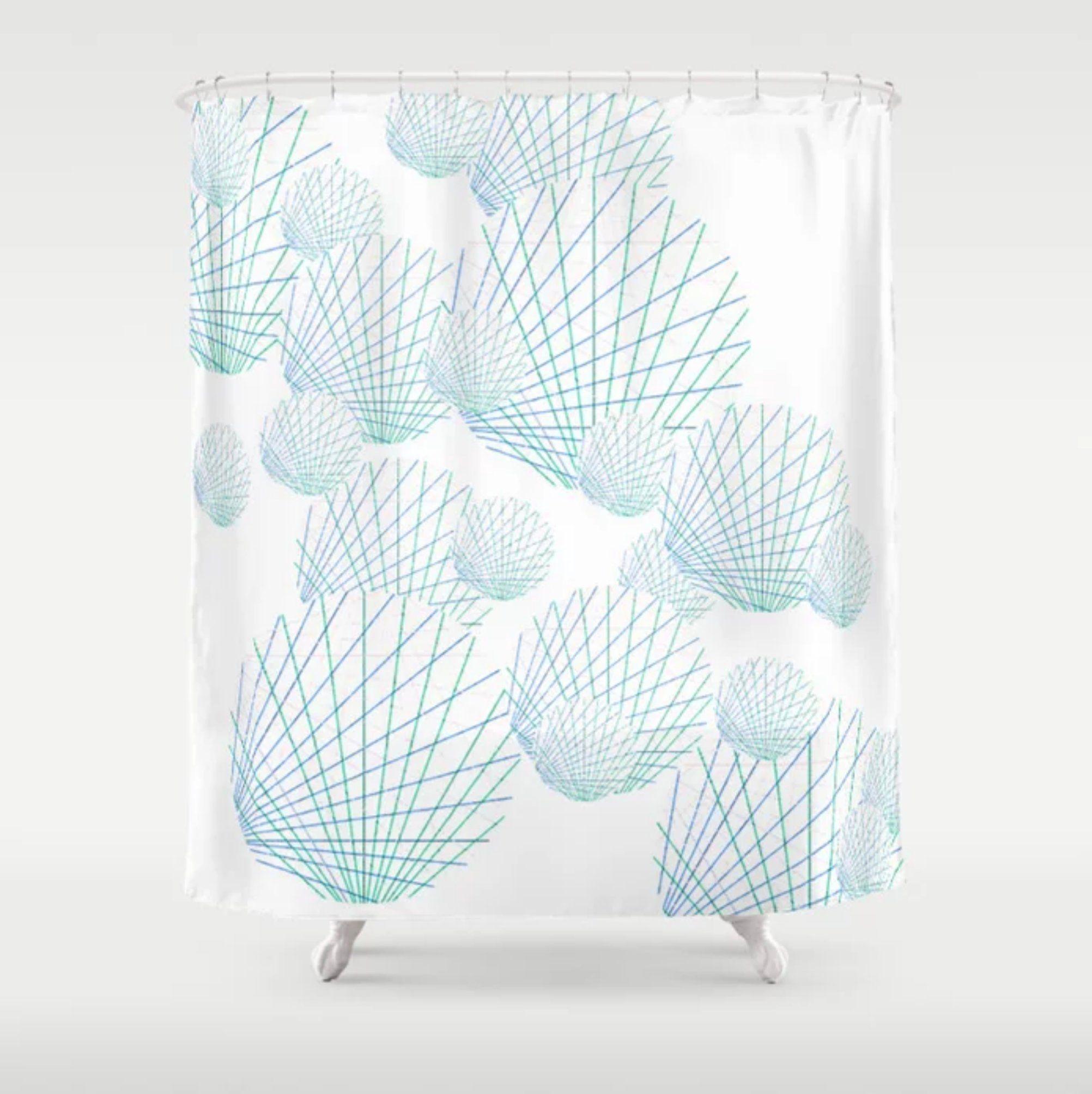 Seashells Abstract Shower Curtain Blue Green Peach White Bathroom