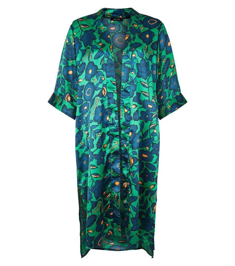 25p Green Satin Floral Print Kimono | New Look