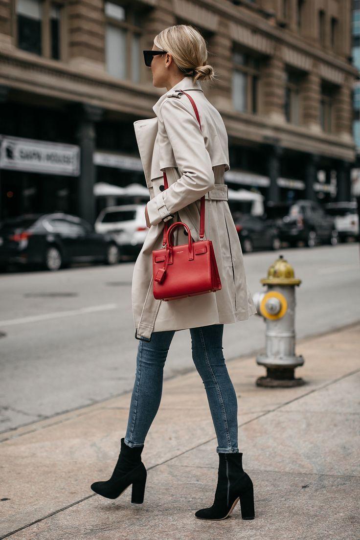 Fashion Jackson Club Monaco Trench Coat Denim Skinny Jeans Black Ankle Booties Saint Laurent Sac De Jour Red 2 #skinnyjeansandankleboots