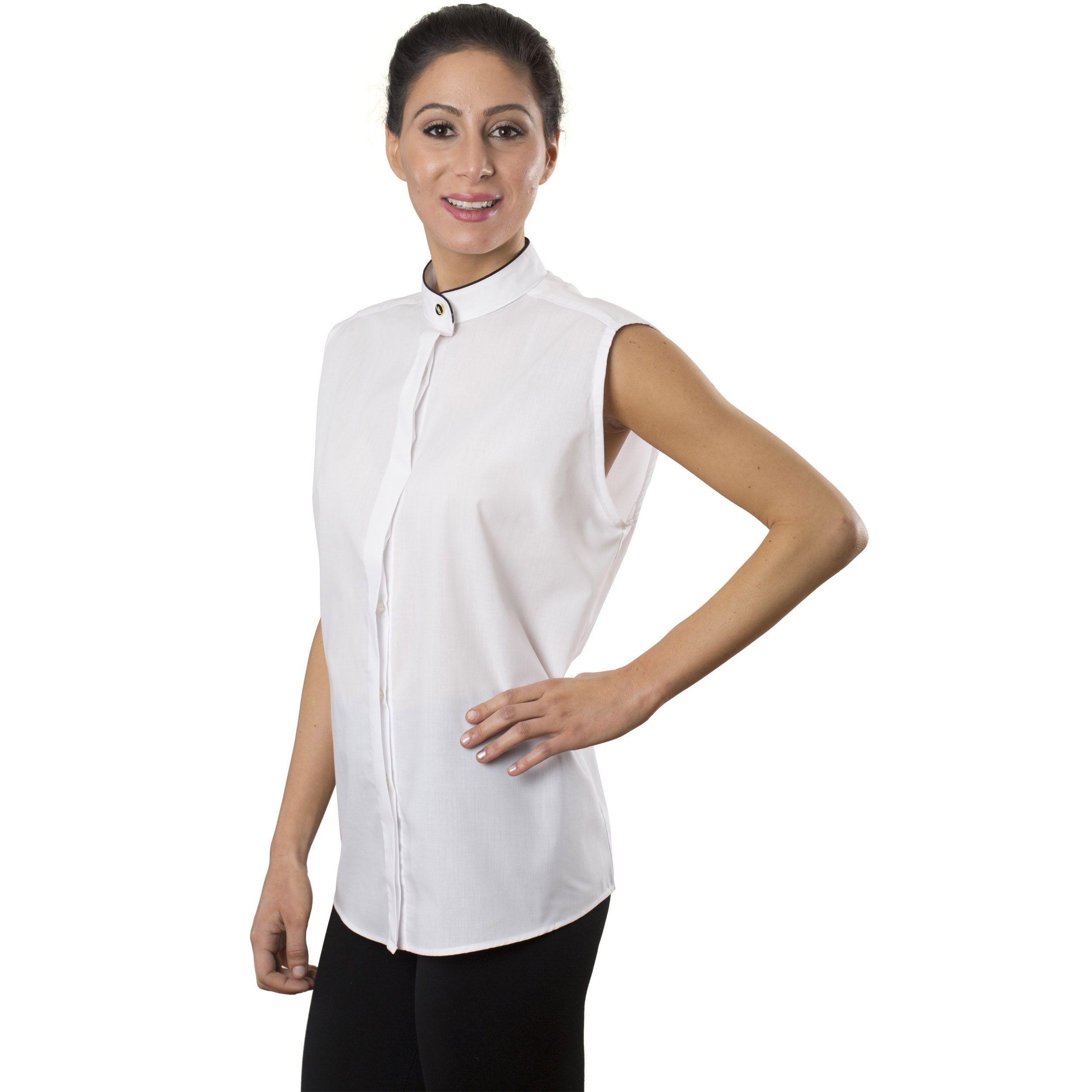 Women 39 s white sleeveless banded collar shirt tuxedo for Sleeveless white shirt with collar