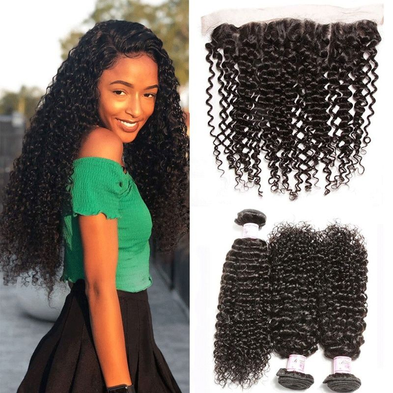 Beauty Brazilian Virgin Curly Human Hair 13x4 Ear To Ear Full Lace Frontal Closure With 3 Bundles Curly Hair Weave Natural Color 12 14 16 Inch 10 Free Part Fr Curly Weave