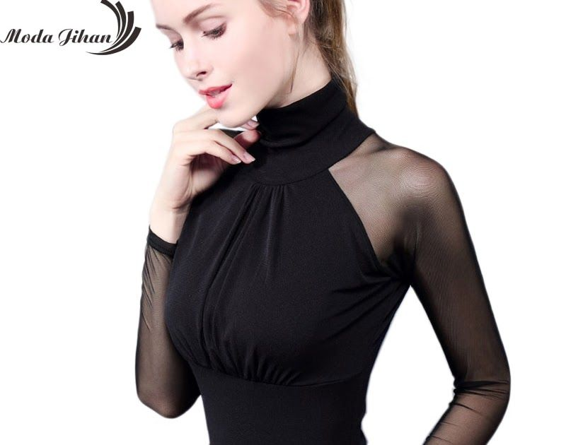 374a53df5f53 On Sale Moda Jihan Women's Shirts Long Sleeve See Through Mesh Tops Turtle  Neck Folded Slim