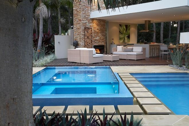 Resort Style Living   Contemporary   Pool   Sydney   Dean Herald Rolling  Stone Landscapes Glass Spa For Visual Effect