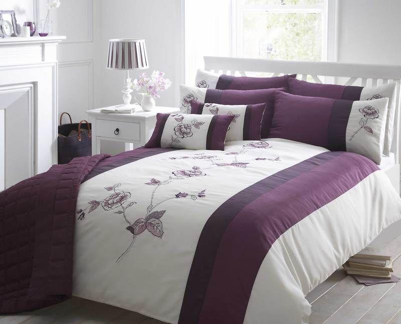 Blue Or Red Floral Super King Duvet Cover Embroidered Bed Linen Bedding Bedset Luxury Bedding Bedding Sets Luxury Bedding Collections