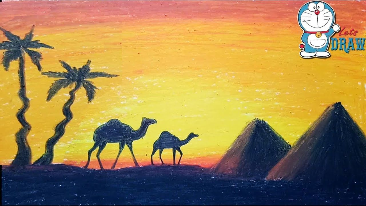 How To Draw Scenery Of Sunset In Desert Step By Step Very Easy