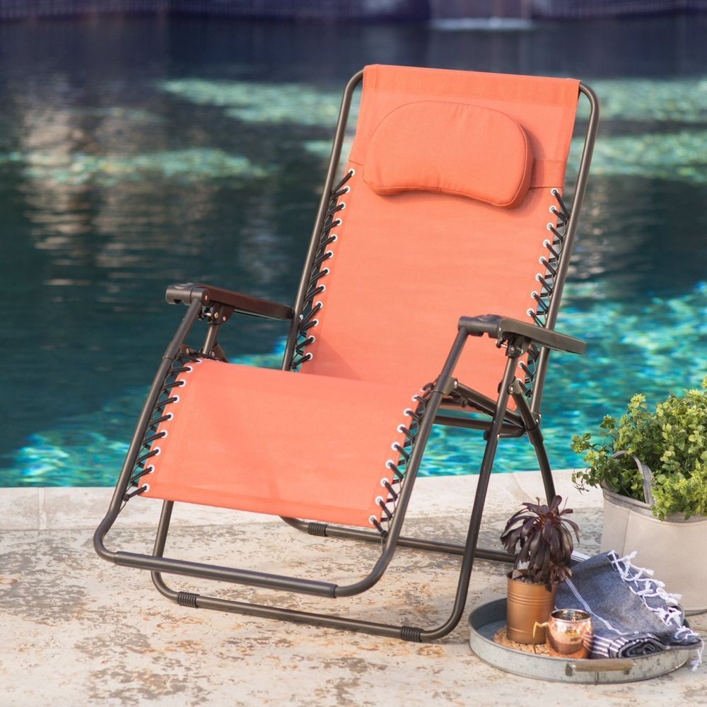 Zero Gravity Outdoor Recliner Lounge Chairs Oversized Patio Beach Terra  Cotta #Unbranded