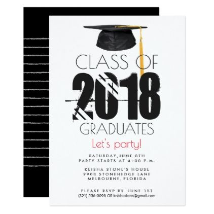 class of 2018 graduation party invitation red in 2018 graduation
