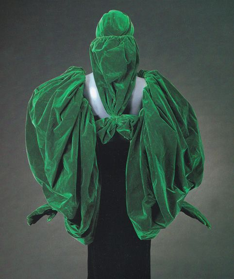 Schiaparelli velvet sleeve/glove combination with matching hat, c.1938. From the Doyle couture auction, May 2000.