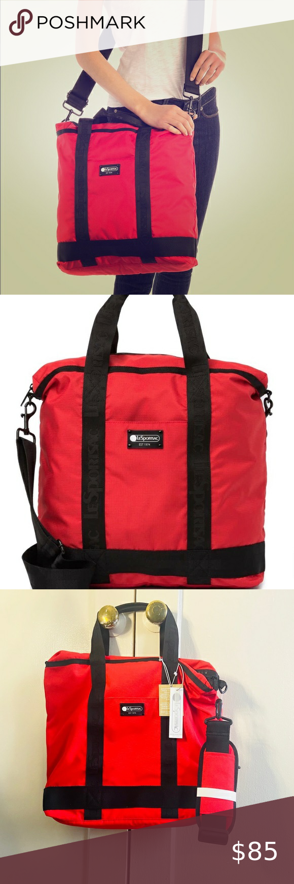 New Lesportsac Red Tote Travel Bag Red Tote Bags Travel Tote