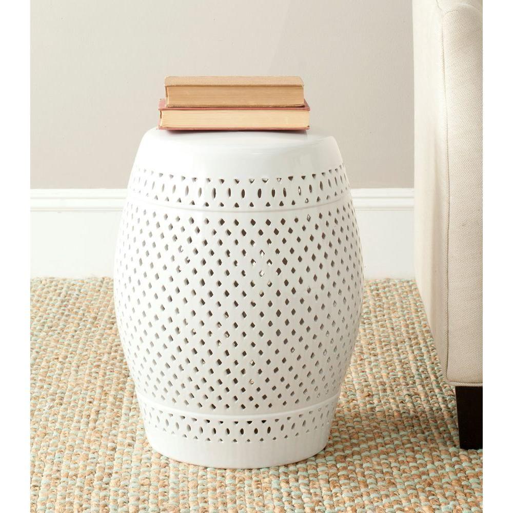 Good Safavieh Diamond White Ceramic Patio Stool