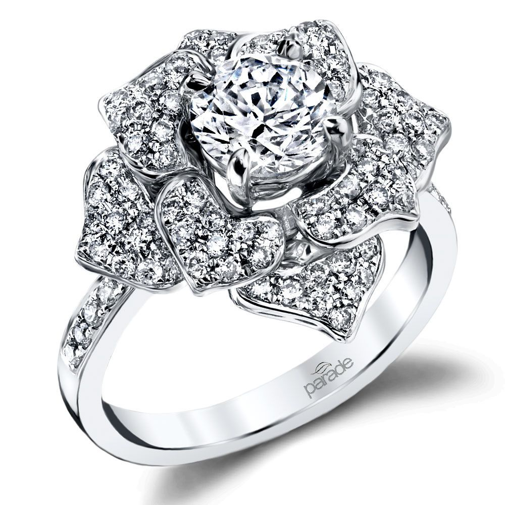 Moonlit Flower Diamond Engagement Ring in White Gold by