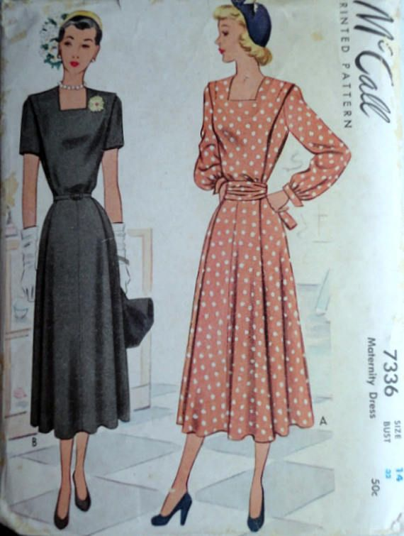 Sewing Pattern Vintage 40\'s McCall 7336 Maternity Dress | 40\'s ...