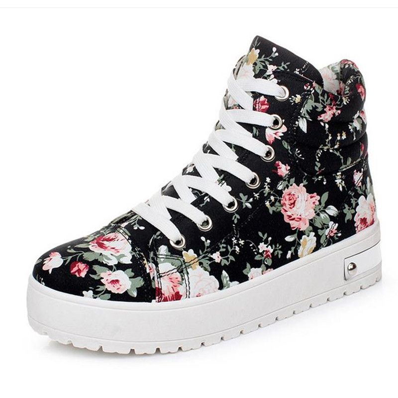 be7b32c69603 Women-Girls-High-Top-Lace-Up-Thick-Sole-Sneakers-Floral-Canvas-Platform- Shoes