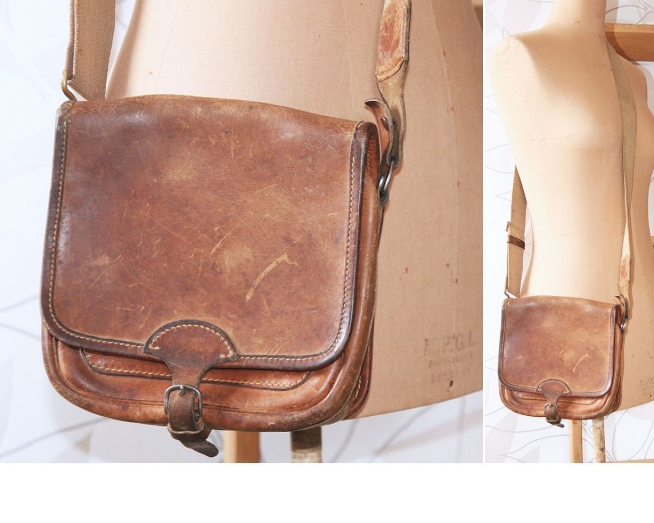 VTG 20 30s French Cartouchière SAC Chasse Leather Saddle Hunting ...