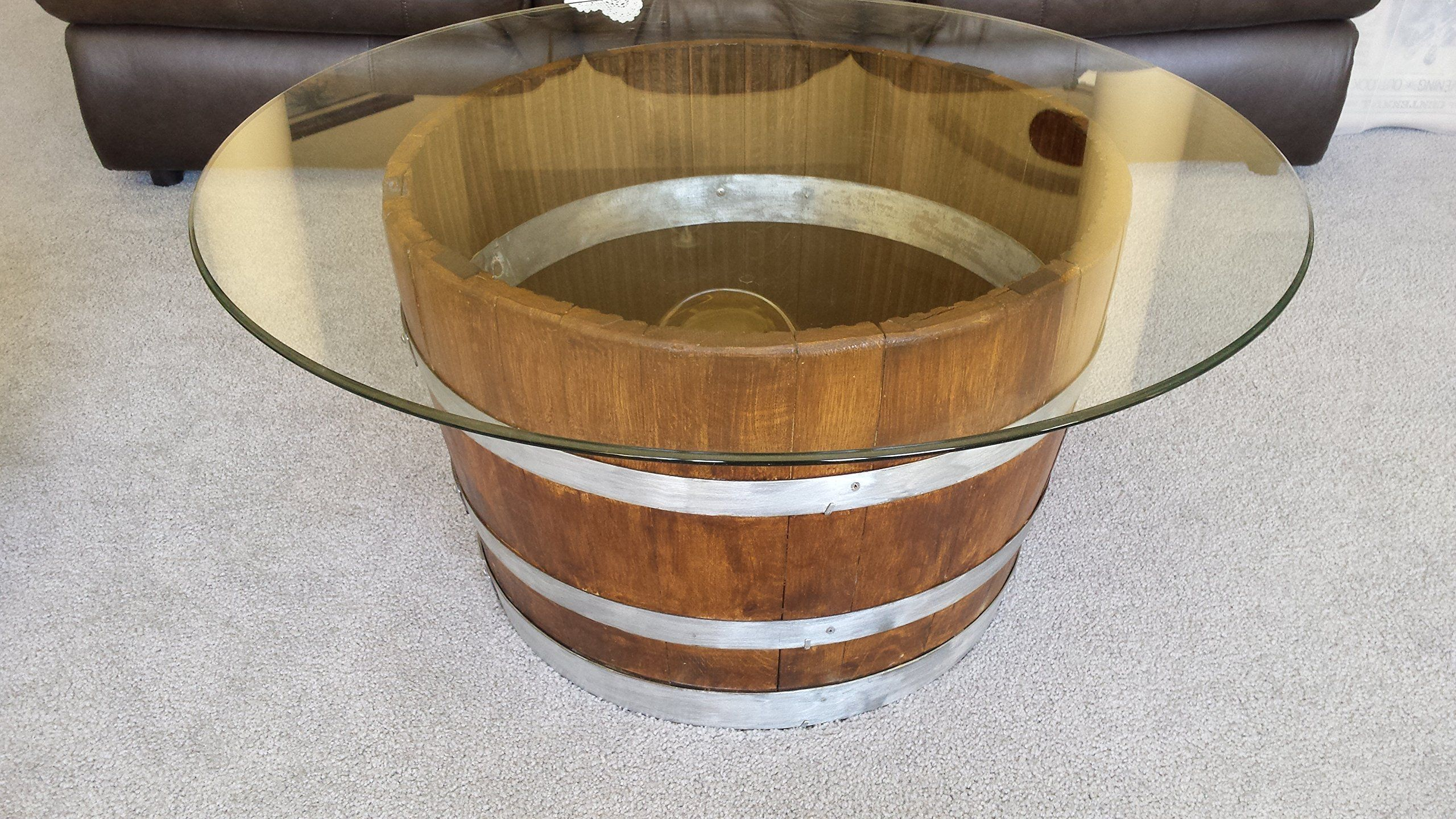 Decorative Half Wine Barrel Table With Glasstop These Exquisite
