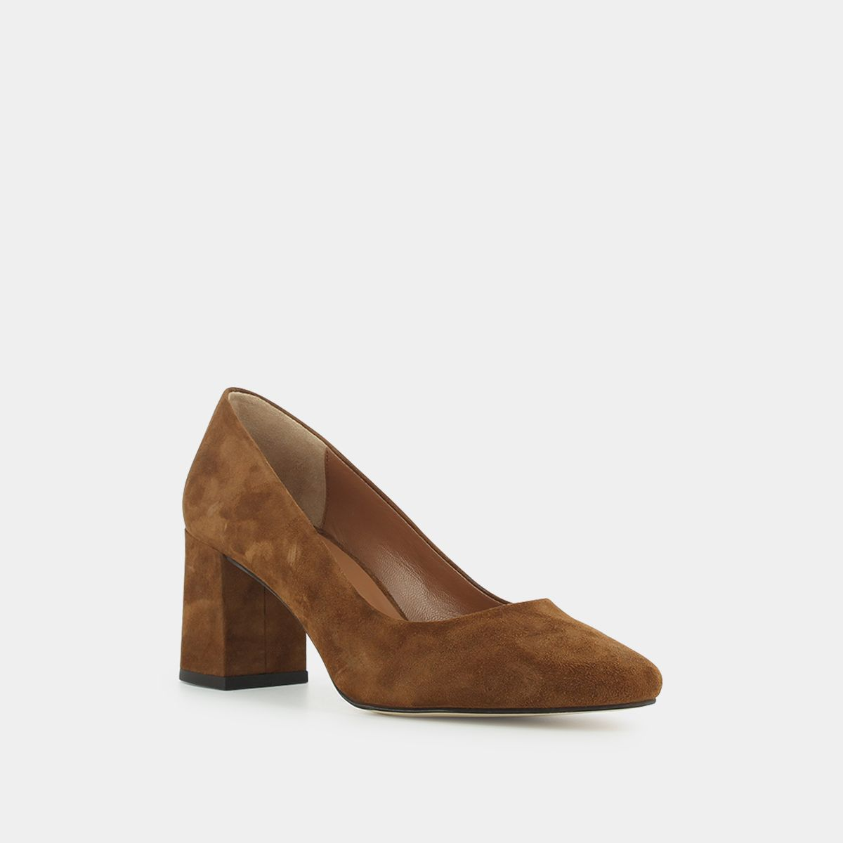 Escarpins à talon carré Femme en velours marron | Jonak